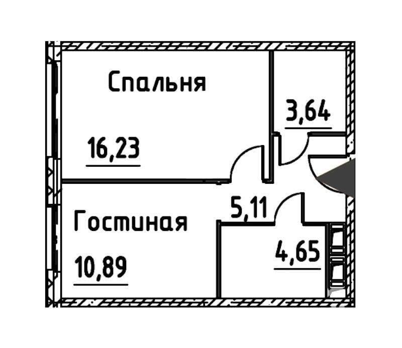 2-комнатная 40 м<sup>2</sup> на 21 этаже