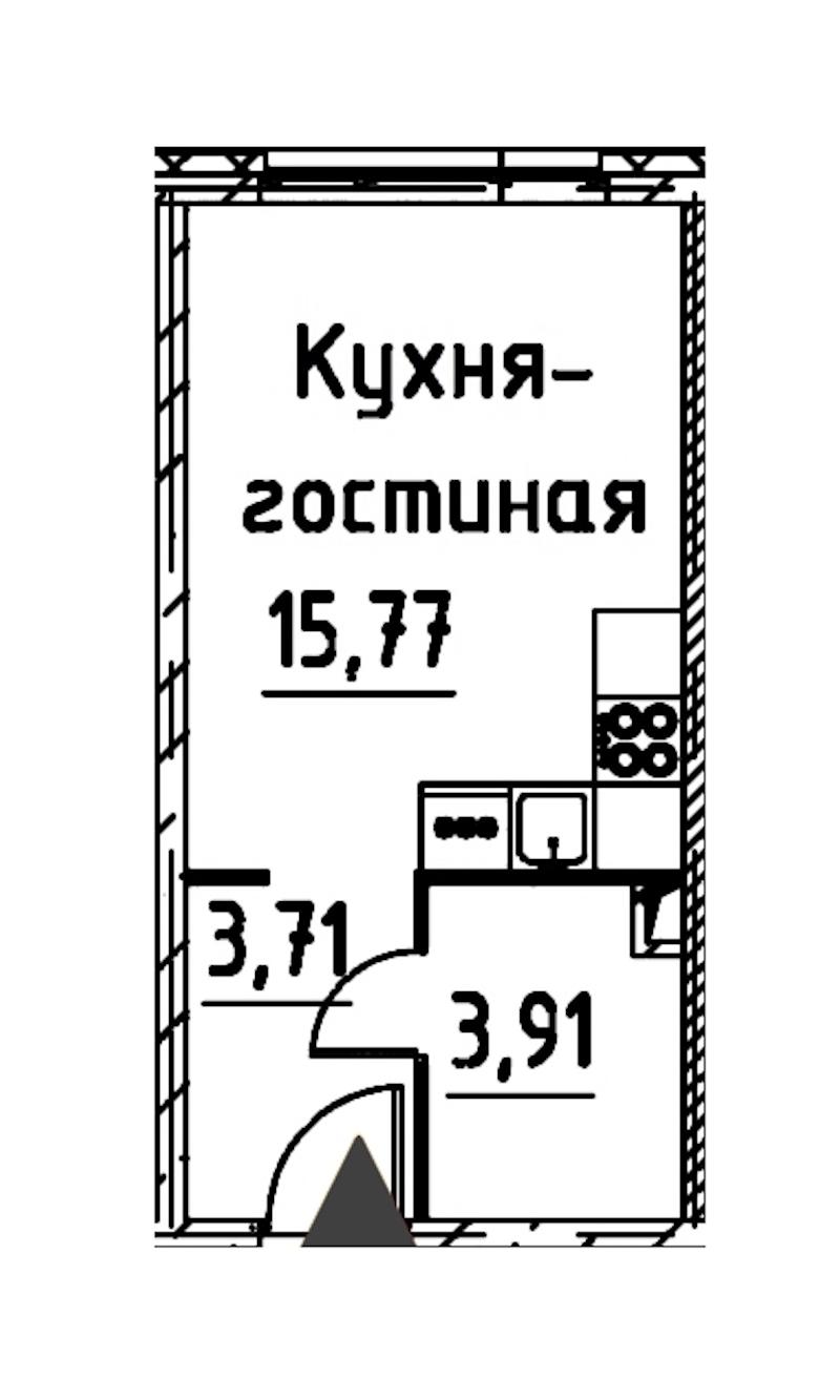 Студия 23 м<sup>2</sup> на 16 этаже