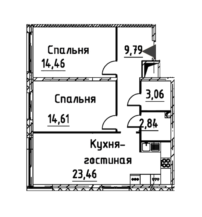 2-комнатная 67 м<sup>2</sup> на 14 этаже