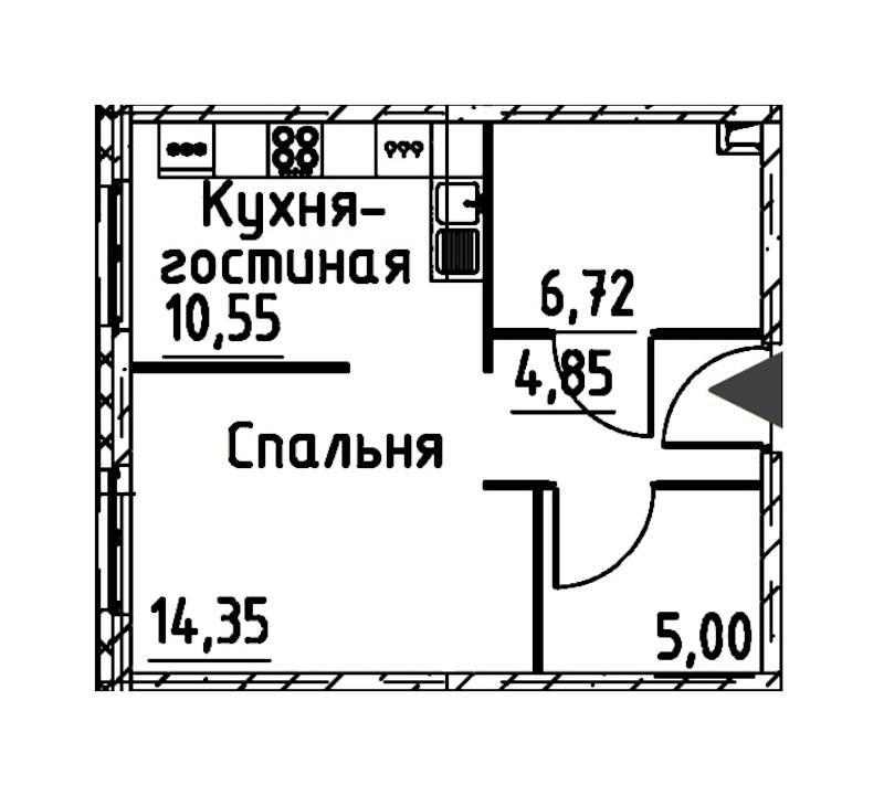 1-комнатная 40 м<sup>2</sup> на 17 этаже