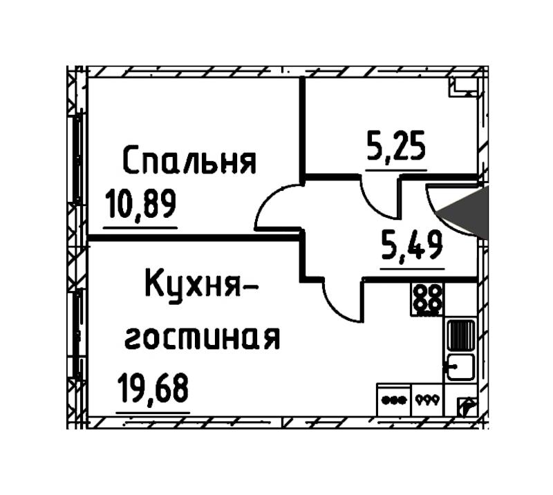 1-комнатная 40 м<sup>2</sup> на 15 этаже