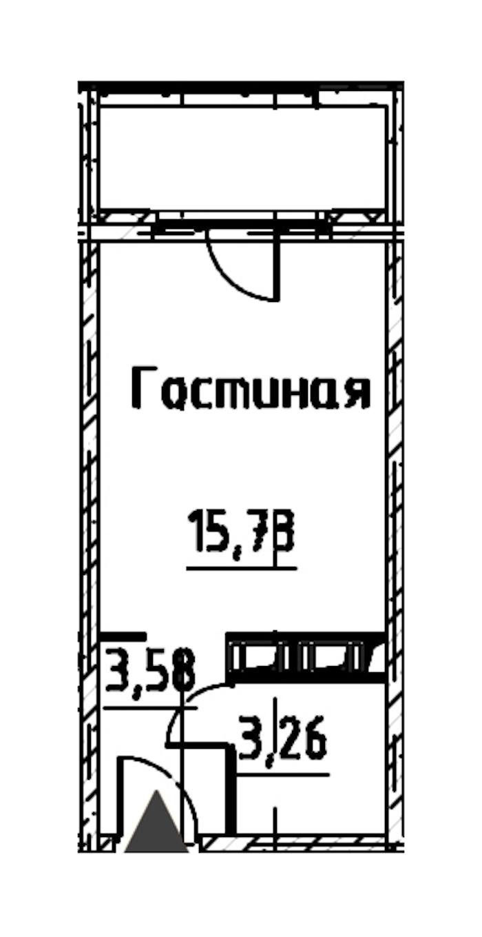 Студия 22 м<sup>2</sup> на 23 этаже