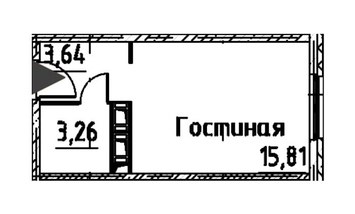 Студия 22 м<sup>2</sup> на 22 этаже
