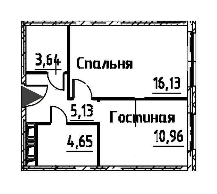 2-комнатная 40 м<sup>2</sup> на 22 этаже