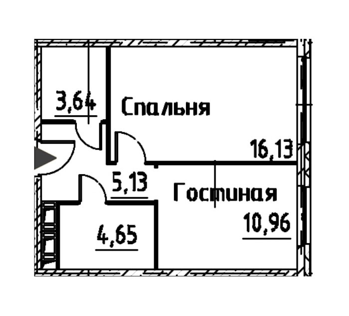 2-комнатная 40 м<sup>2</sup> на 24 этаже