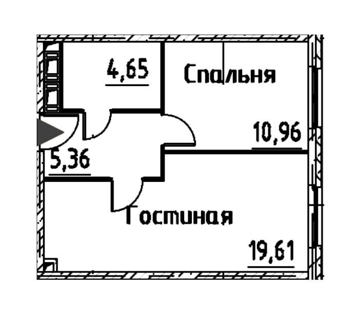 2-комнатная 40 м<sup>2</sup> на 23 этаже