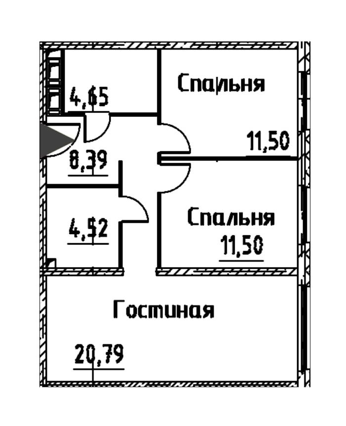 3-комнатная 61 м<sup>2</sup> на 22 этаже