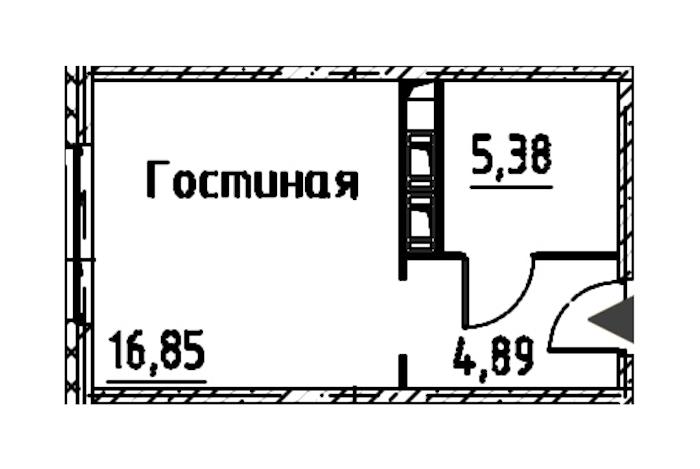 Студия 27 м<sup>2</sup> на 23 этаже
