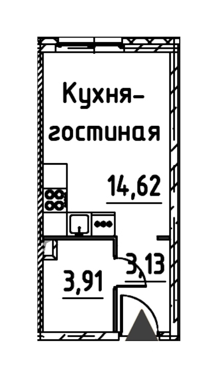 Студия 20 м<sup>2</sup> на 17 этаже