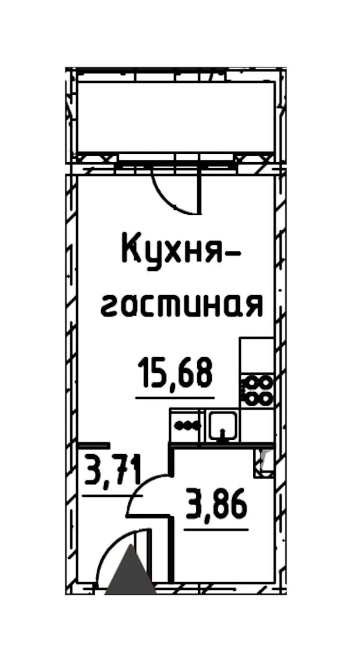 Студия 22 м<sup>2</sup> на 3 этаже