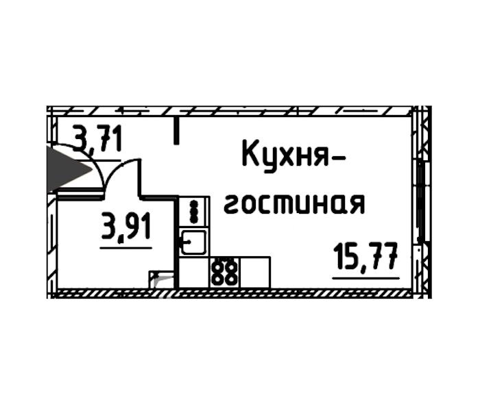 Студия 22 м<sup>2</sup> на 17 этаже