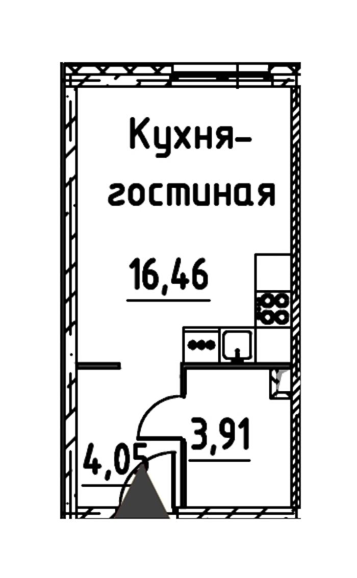 Студия 23 м<sup>2</sup> на 17 этаже