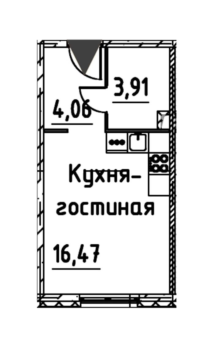 Студия 23 м<sup>2</sup> на 20 этаже