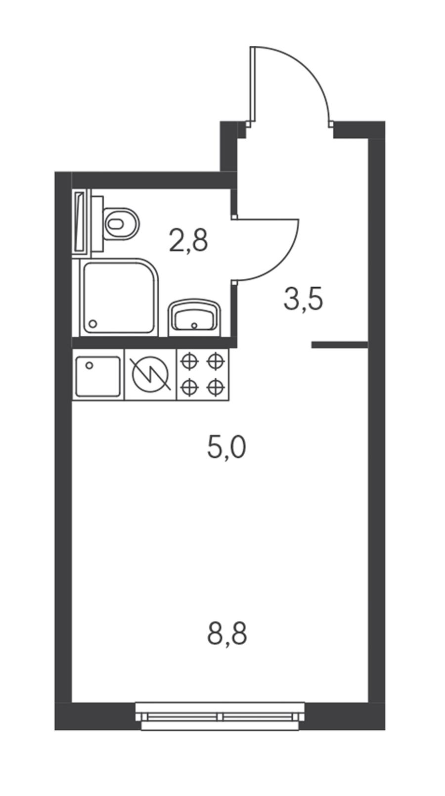 Студия 20 м<sup>2</sup> на 11 этаже