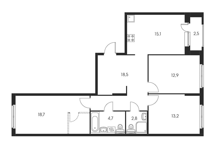 3-комнатная 87 м<sup>2</sup> на 6 этаже