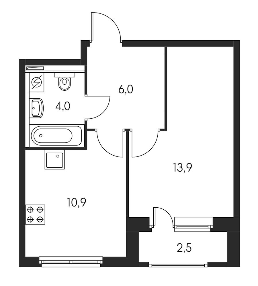 1-комнатная 36 м<sup>2</sup> на 10 этаже