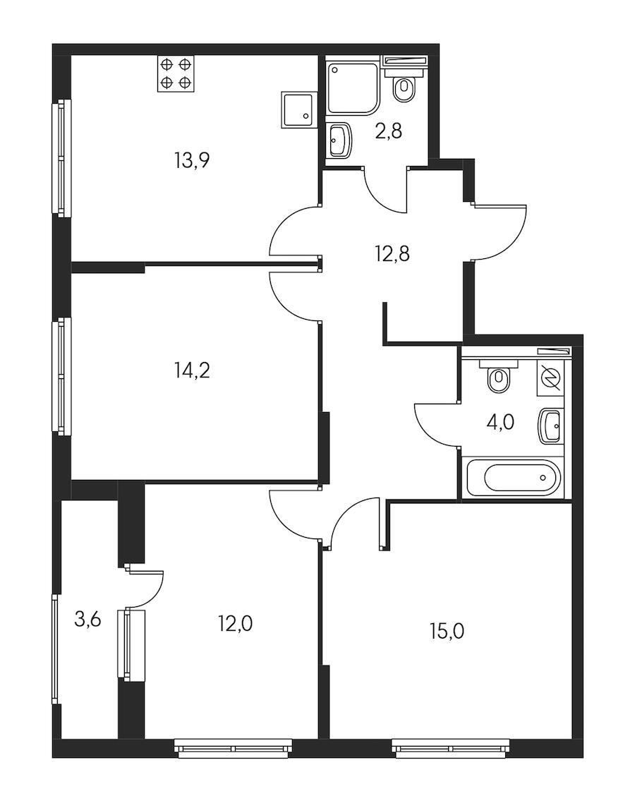 3-комнатная 76 м<sup>2</sup> на 12 этаже