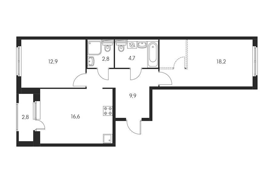 2-комнатная 66 м<sup>2</sup> на 2 этаже