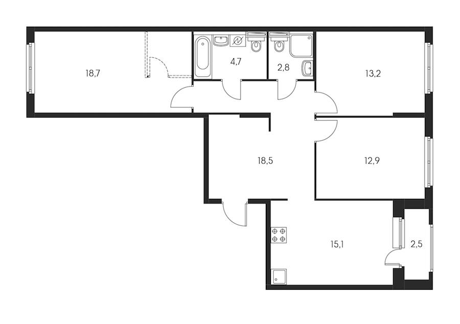 3-комнатная 87 м<sup>2</sup> на 5 этаже