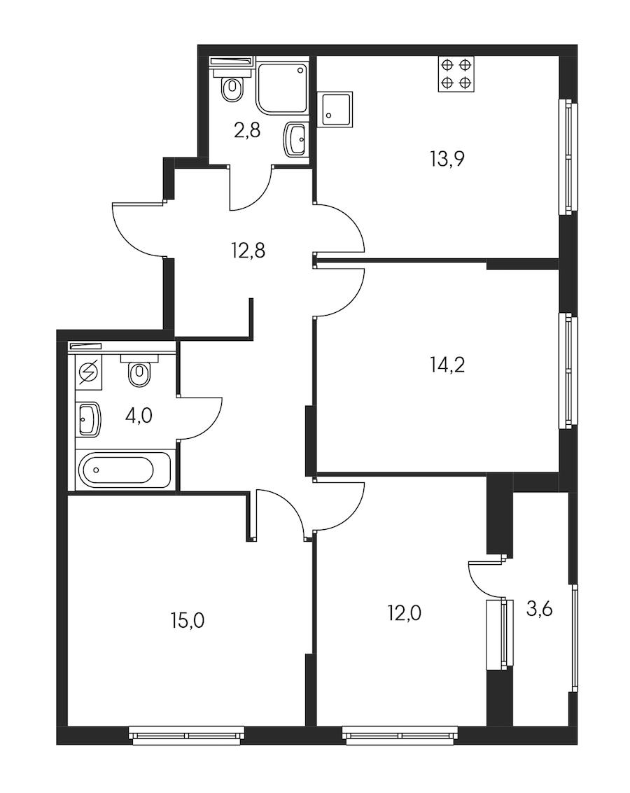 3-комнатная 76 м<sup>2</sup> на 9 этаже