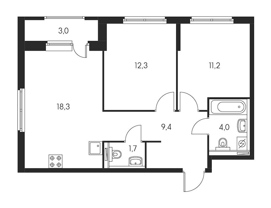 2-комнатная 58 м<sup>2</sup> на 6 этаже