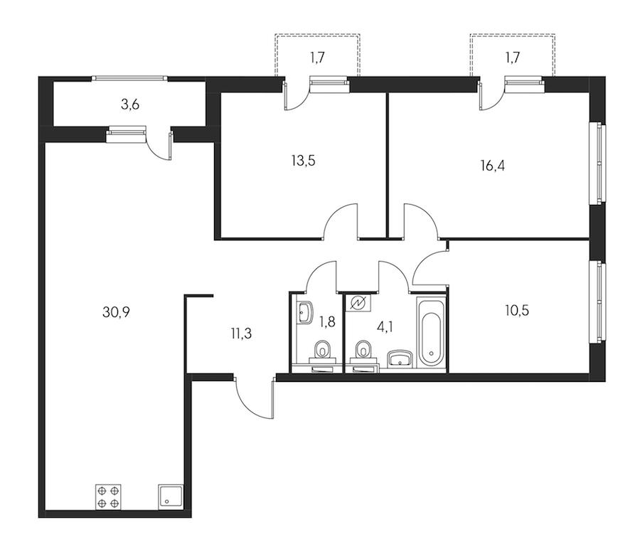 3-комнатная 90 м<sup>2</sup> на 2 этаже