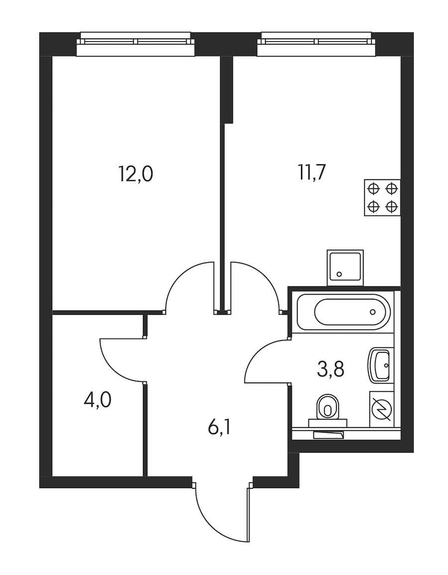 1-комнатная 37 м<sup>2</sup> на 17 этаже