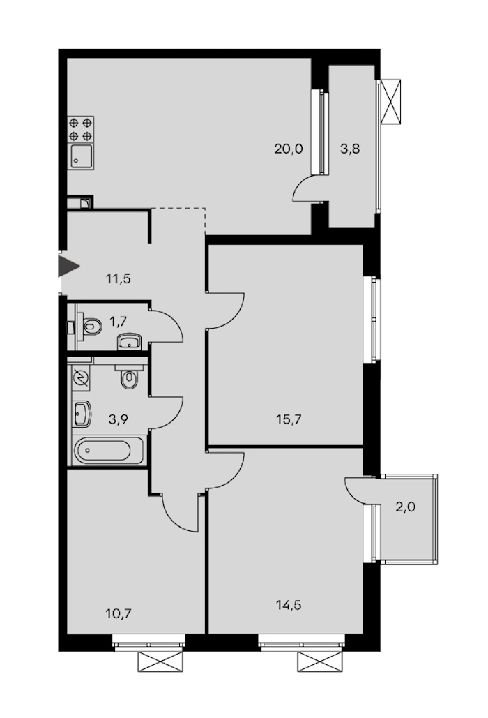 3-комнатная 80 м<sup>2</sup> на 24 этаже