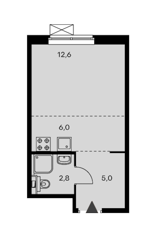 Студия 26 м<sup>2</sup> на 24 этаже