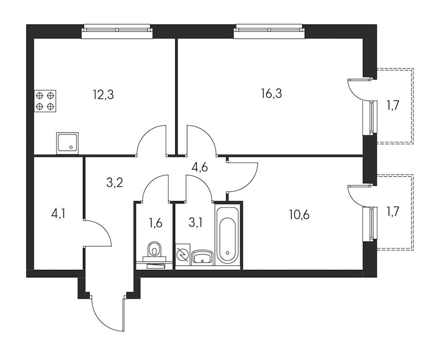 2-комнатная 56 м<sup>2</sup> на 22 этаже