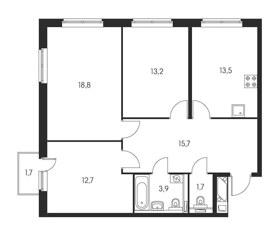 3-комнатная 80 м<sup>2</sup> на 23 этаже