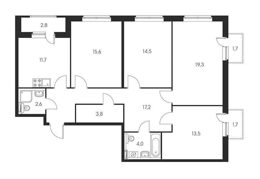 4-комнатная 104 м<sup>2</sup> на 5 этаже