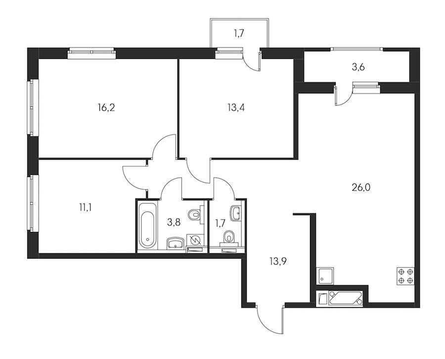 3-комнатная 88 м<sup>2</sup> на 18 этаже
