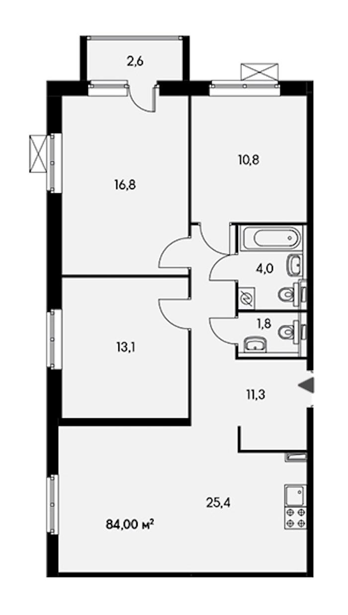 3-комнатная 83 м<sup>2</sup> на 21 этаже