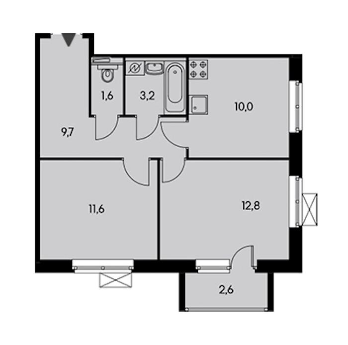 2-комнатная 48 м<sup>2</sup> на 21 этаже