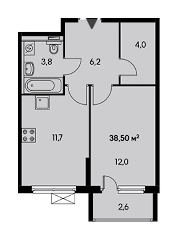 1-комнатная 35 м<sup>2</sup> на 22 этаже