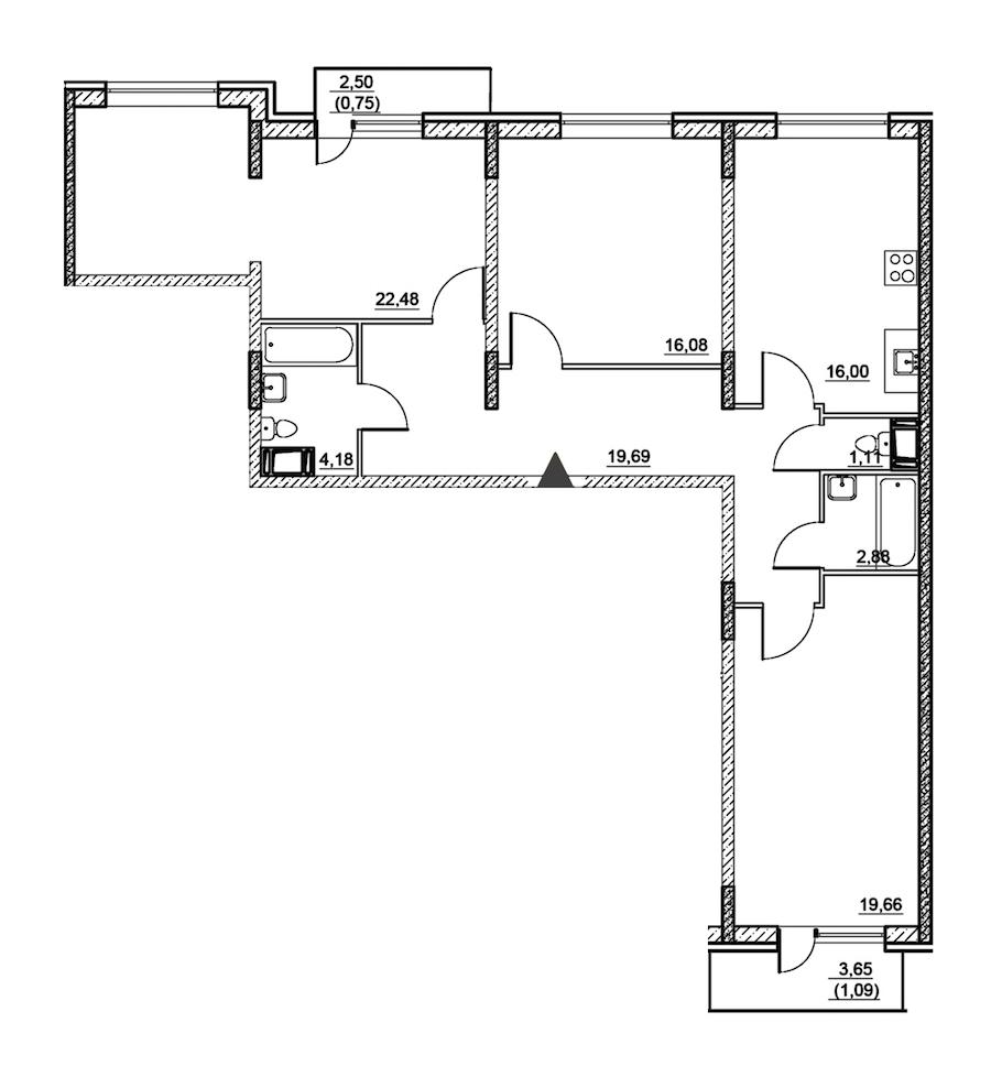 3-комнатная 103 м<sup>2</sup> на 2 этаже