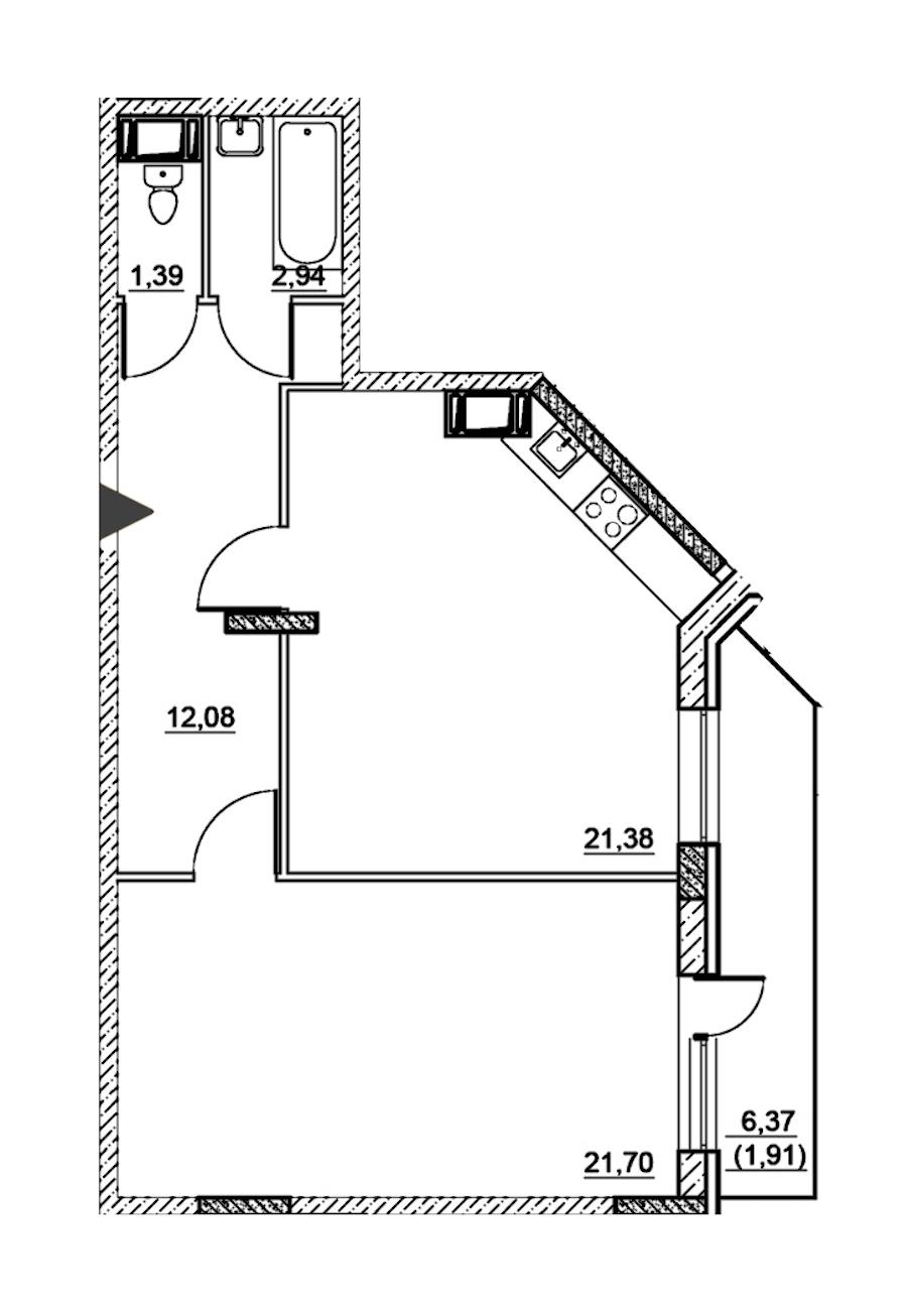 1-комнатная 61 м<sup>2</sup> на 2 этаже