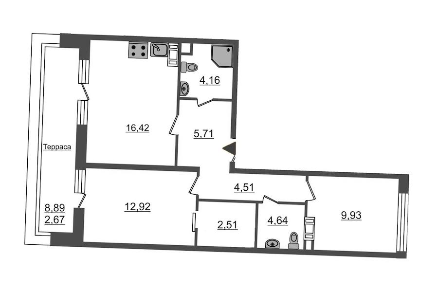 2-комнатная 63 м<sup>2</sup> на 12 этаже