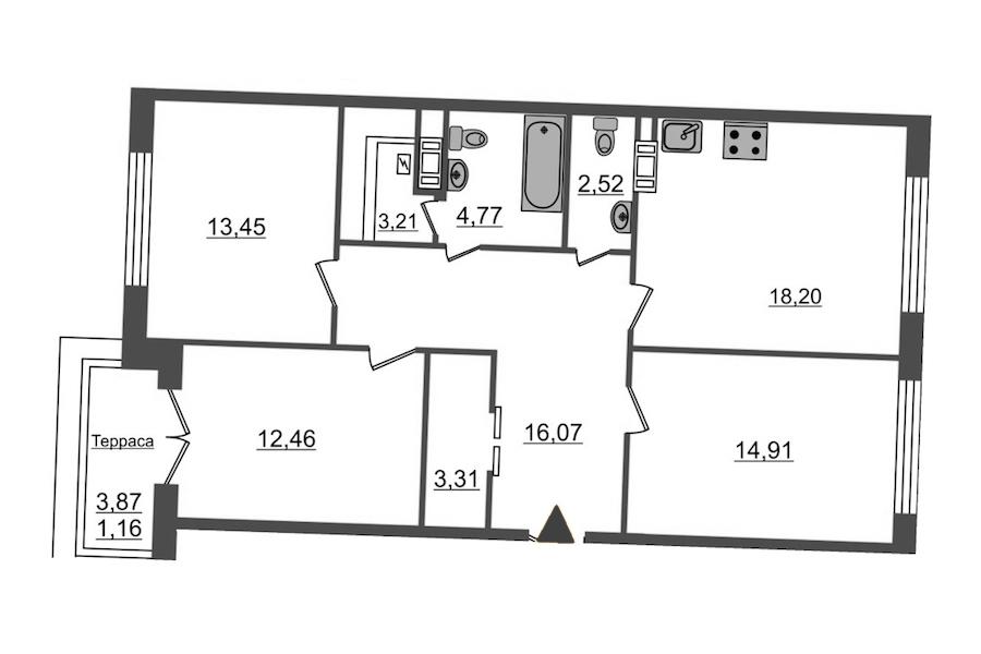 3-комнатная 90 м<sup>2</sup> на 12 этаже