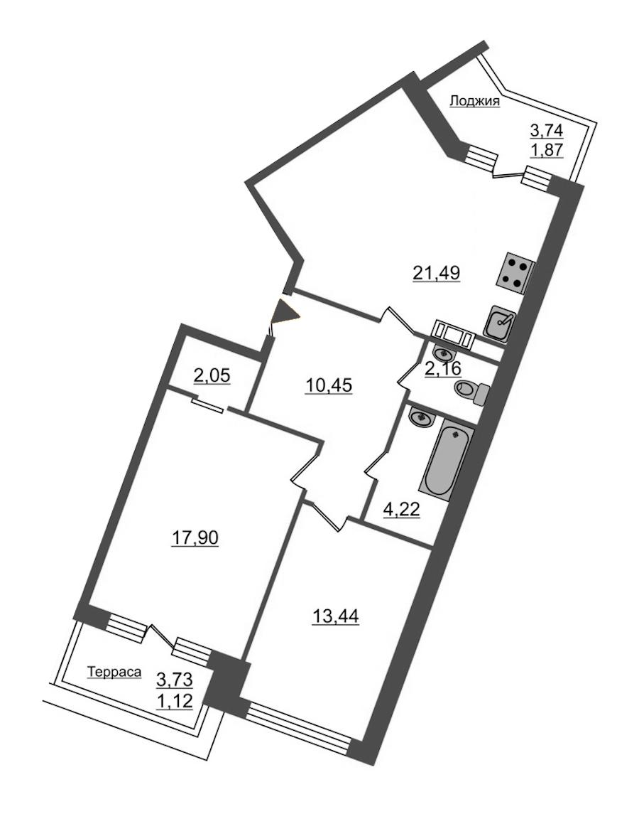 2-комнатная 74 м<sup>2</sup> на 12 этаже