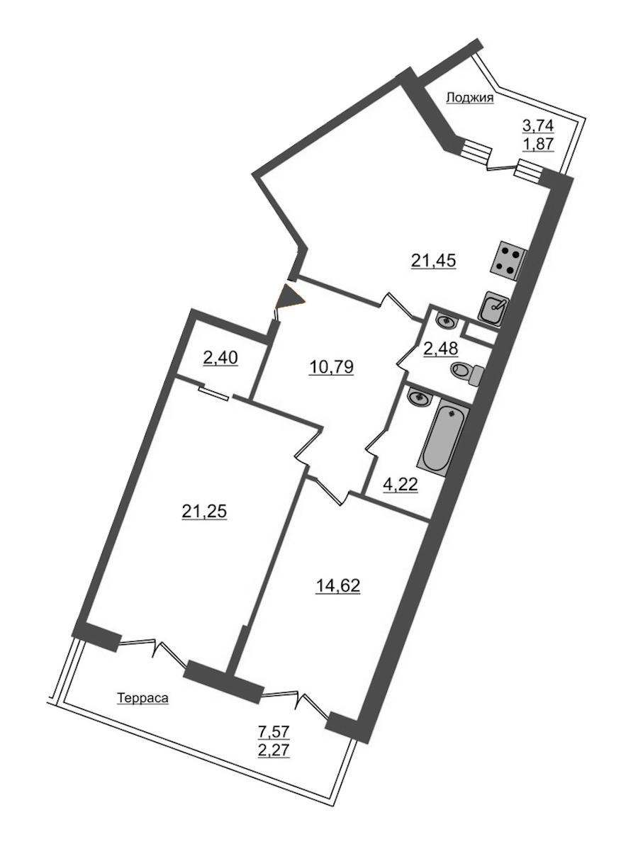 2-комнатная 81 м<sup>2</sup> на 2 этаже