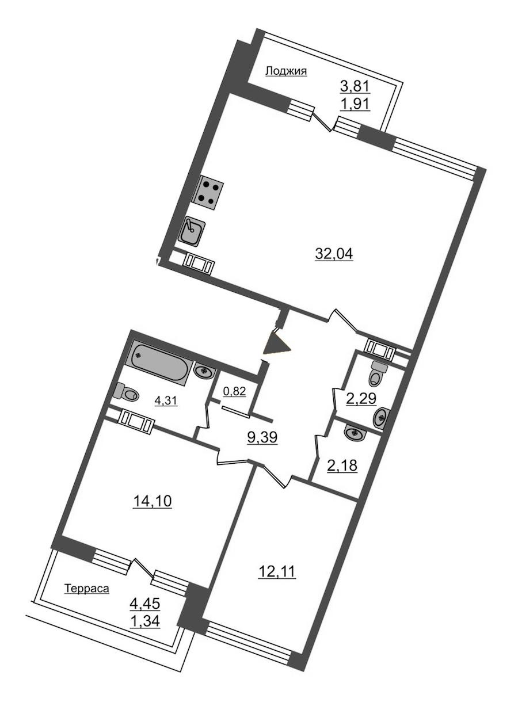 2-комнатная 80 м<sup>2</sup> на 12 этаже