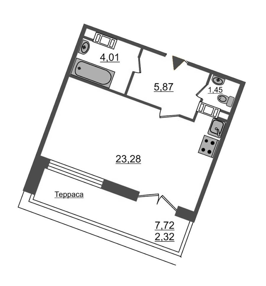 Студия 36 м<sup>2</sup> на 12 этаже