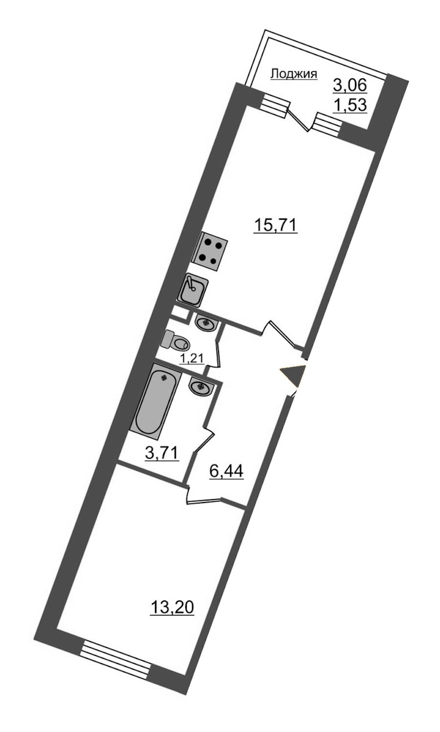 1-комнатная 41 м<sup>2</sup> на 3 этаже