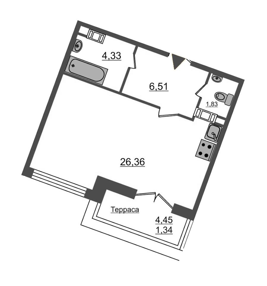 Студия 40 м<sup>2</sup> на 12 этаже