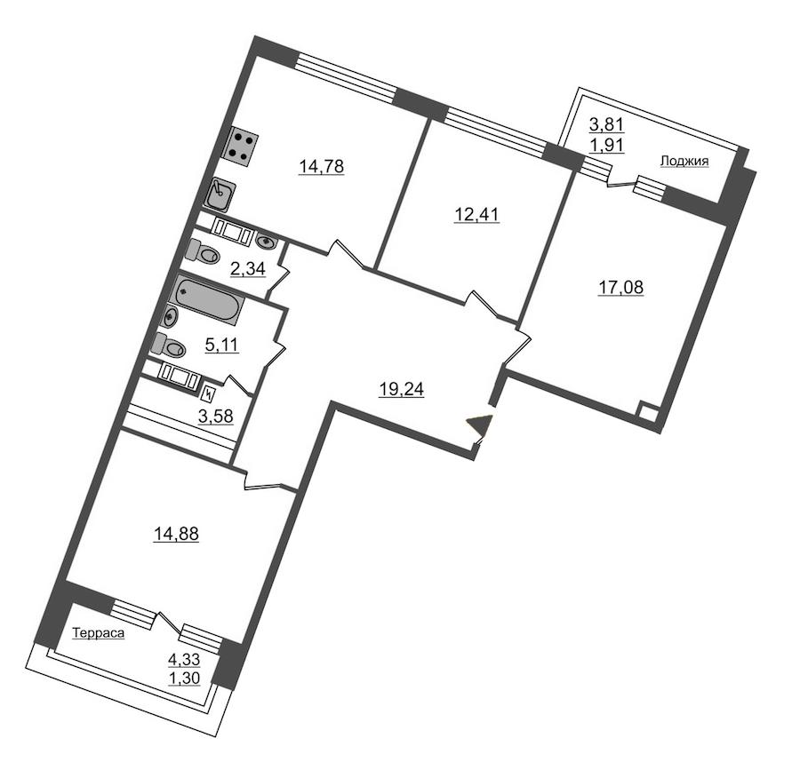 3-комнатная 92 м<sup>2</sup> на 12 этаже