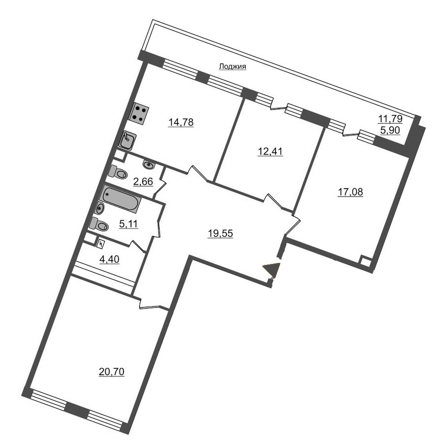 3-комнатная 102 м<sup>2</sup> на 4 этаже