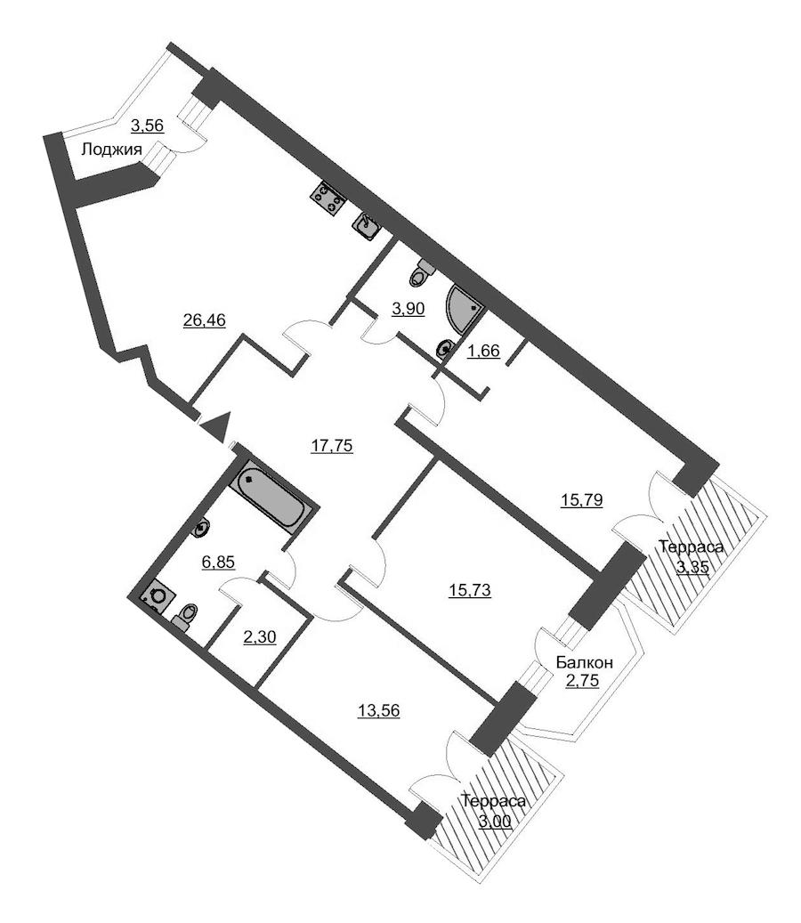 3-комнатная 108 м<sup>2</sup> на 2 этаже