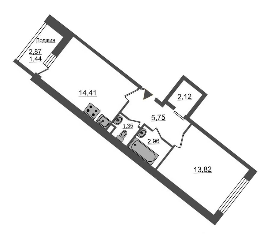 1-комнатная 41 м<sup>2</sup> на 12 этаже